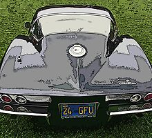 Black Chevrolet Corvette Rear View by Samuel Sheats