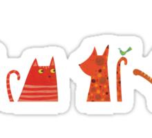 Four Cats and a Bird Sticker