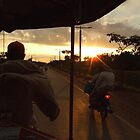 Sunset from tuk tuk in Cambodia by Hannah Nicholas