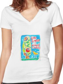 Live Simply Women's Fitted V-Neck T-Shirt