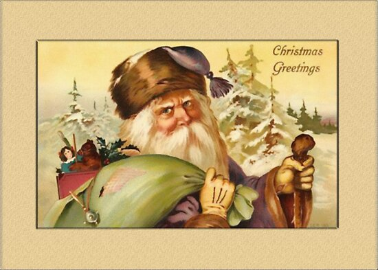 Santa with Sack Christmas Card by Pamela Phelps
