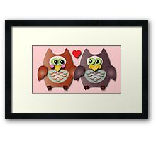 Cute owls in love Framed Print