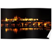 Reflections of Prague Castle at Night Poster