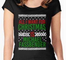 All I Want For Christmas (Michael Fassbender) Women's Fitted Scoop T-Shirt