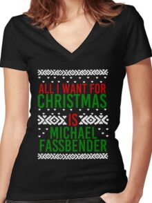 All I Want For Christmas (Michael Fassbender) Women's Fitted V-Neck T-Shirt