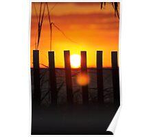 Delray Beach Sunrise through the dune fence Poster