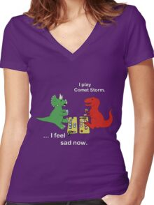 Dino League: Casting Comet Storm Women's Fitted V-Neck T-Shirt