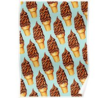 Chocolate Dip Ice Cream Pattern Poster
