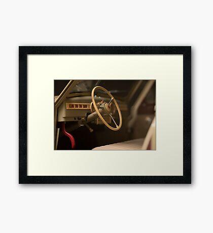 steering wheel retro car Framed Print