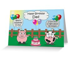 Dad Funny Animals Pig & Cow Humor Cute Birthday  Greeting Card