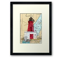 Menominee River Lighthouse MI Chart Cathy Peek Framed Print