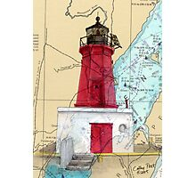 Menominee River Lighthouse MI Chart Cathy Peek Photographic Print
