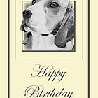 Pencil Drawing of Beagle Dog on Birthday Card by Samantha Harrison