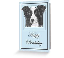 Pencil Drawing of Border Collie Dog on Birthday Card Greeting Card