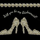 Will You Be My Bridesmaid White Rose Decorated Handbag & Shoe Design by Catherine Roberts