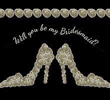 Will You Be My Bridesmaid White Rose Decorated Handbag & Shoe Design by Samantha Harrison