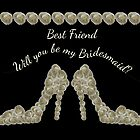 Best Friend Will You Be My Bridesmaid White Rose Handbag & Shoe Design by Catherine Roberts