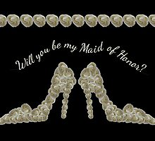 Will You Be My Maid of Honor White Rose Handbag & Shoe Design by Samantha Harrison
