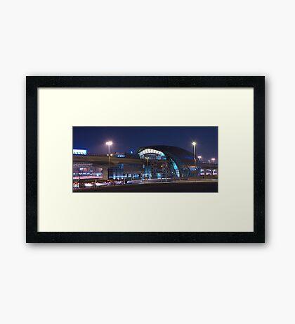 Business Bay Metro at Night Framed Print