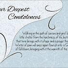 Our Deepest Condolences with Words - Pastel Blue & Vintage Scrolls by Catherine Roberts
