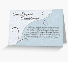 Our Deepest Condolences with Words - Pastel Blue & Vintage Scrolls Greeting Card