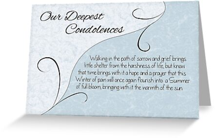 Our Deepest Condolences with Words - Pastel Blue & Vintage Scrolls by Samantha Harrison