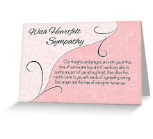 With Heartfelt Sympathy with Words - Pastel Pink & Vintage Scrolls Greeting Card