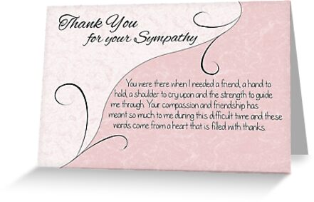 Thank You Sympathy Card - Pastel Pink with Vintage Scrolls by Samantha Harrison