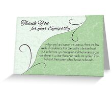 Thank You Sympathy Card - Pastel Green with Vintage Scrolls Greeting Card