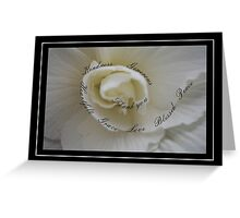 Sympathy Thank You White Rose with Winding Words of Gratitude Greeting Card