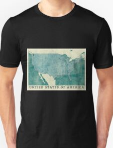 United States Of America Map Blue Vintage T-Shirt