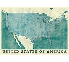 United States Of America Map Blue Vintage Photographic Print