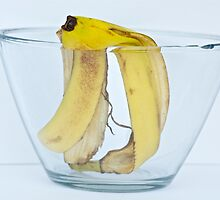 Banana peel in a bowl by Carolyn Clark
