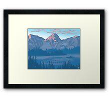 bear country landscape illustration Framed Print