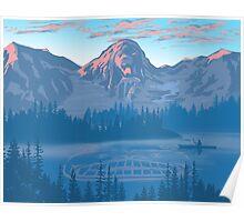 bear country landscape illustration Poster