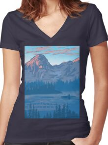 bear country landscape illustration Women's Fitted V-Neck T-Shirt