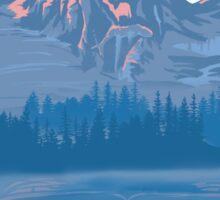 bear country landscape illustration Sticker