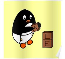Baby Penguin With Blocks Poster