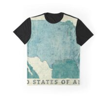 United States Of America Map Blue Vintage Graphic T-Shirt