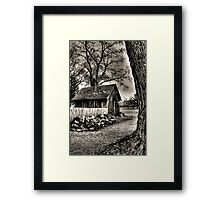 Out to the Woodshed Framed Print