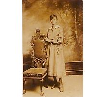Young Black Woman with Chair Photographic Print