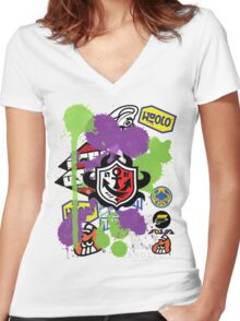 Splatoon Inspired: Ink Splat Brand Women's Fitted V-Neck T-Shirt