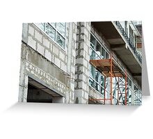 Facade of the building during the construction phase Greeting Card