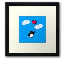 Penguin with Heart Balloon Framed Print
