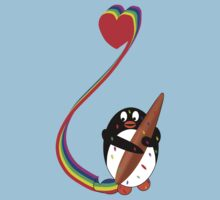 Messy Penguin Painting with Rainbow Kids Tee