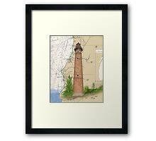 Little Sable Lighthouse MI Chart Cathy Peek Framed Print