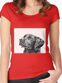 Black Labrador Dog Women's Fitted Scoop T-Shirt