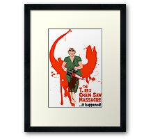 The T. rex Chainsaw Massacre Framed Print