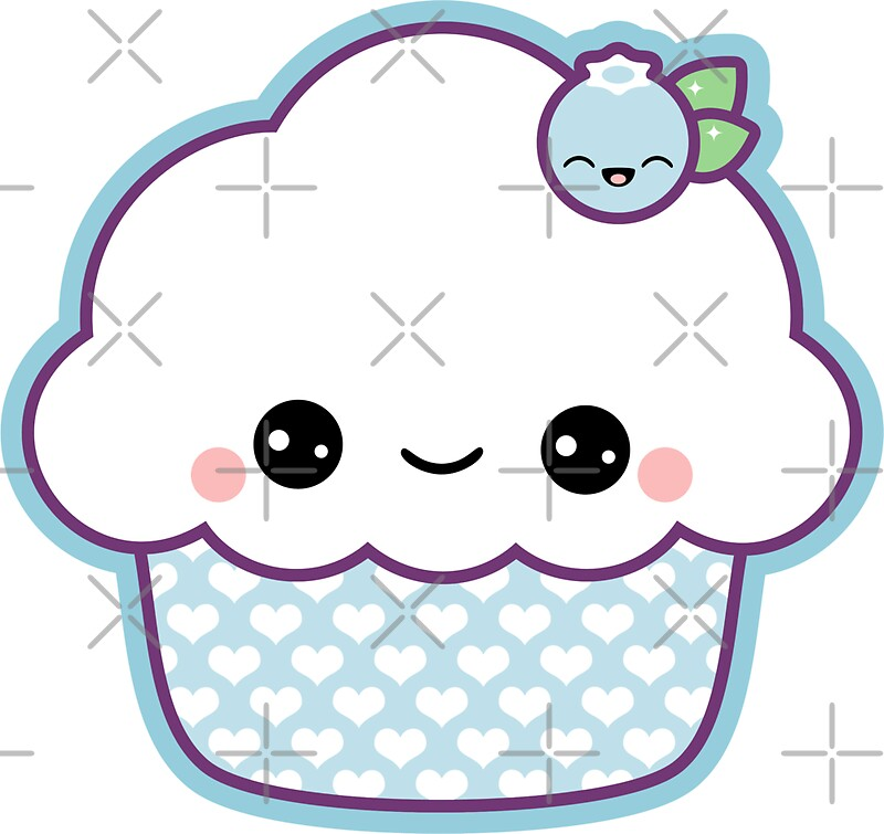 Quot Cute Blueberry Cupcake Quot Stickers By Sugarhai Redbubble