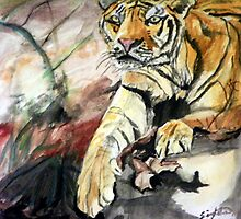 Siberian Tiger In The Sun by Angela Singleton